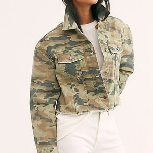 Free People Camo Denim Cropped Raw Hem Jacket